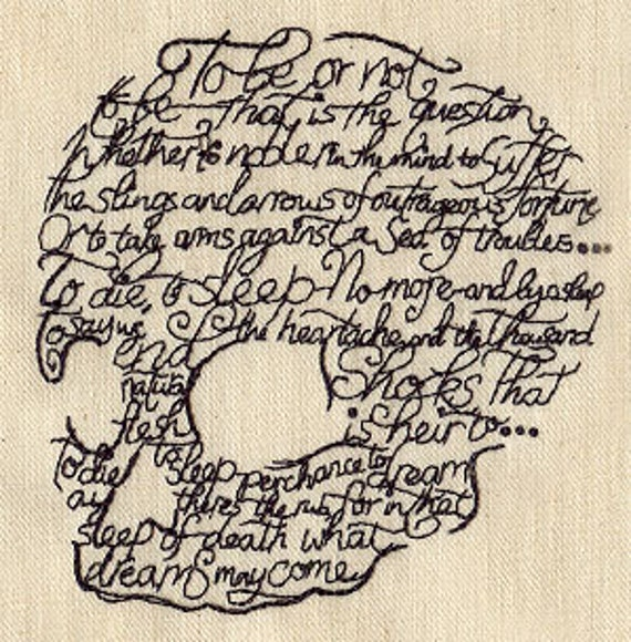 To Be Or Not To Be Shakespeare Skull Head Canvas Embroidered Field Bag