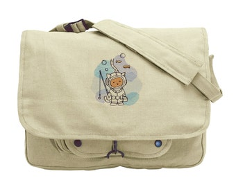 Underwater Kitty Embroidered Canvas Messenger Bag