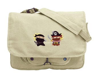 Pirates Versus Ninjas Embroidered Canvas Messenger Bag