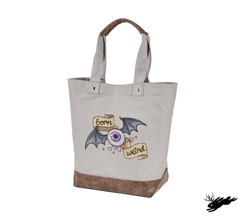 Wicked Cute Born Weird Embroidered Canvas Tote with Vegan Leather Accents
