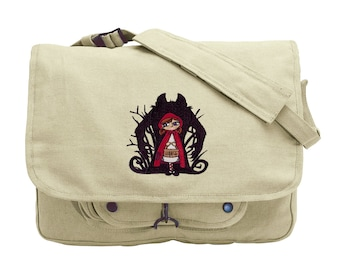 Wolf Shadow - Little Red Riding Hood Embroidered Canvas Messenger Bag