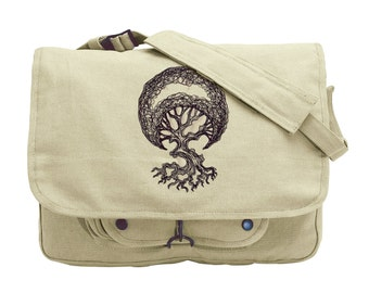 Moon Tree Embroidered Canvas Messenger Bag