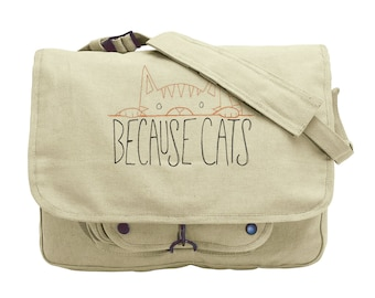 Because Cats Embroidered Canvas Messenger Bag
