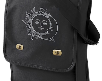 Vintage Celestial - Sun and Moon Embroidered Canvas Field Bag