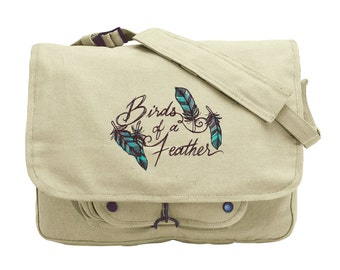 Nest - Birds of a Feather Embroidered Canvas Messenger Bag