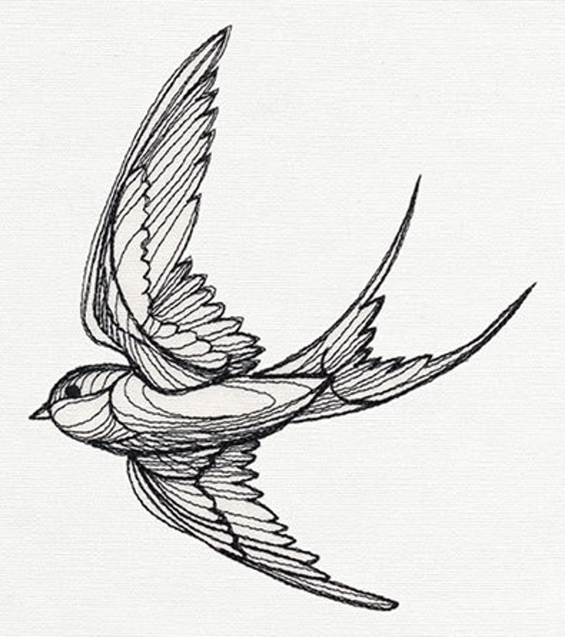 Engraved Swallow Embroidered Canvas with Leather Accents Premium Laptop Bag