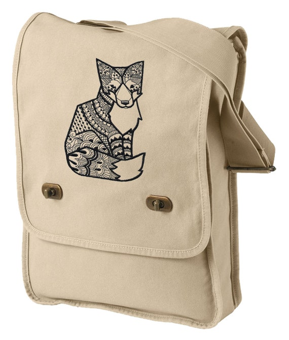 Doodle Fox Embroidered Canvas with Leather Accents Premium Laptop Bag