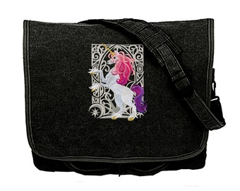 Unicorn Nouveau Embroidered Canvas Messenger Bag