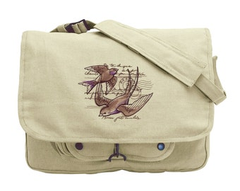 French Bird Bag, Parisian Swallows Embroidered Canvas Messenger Bag