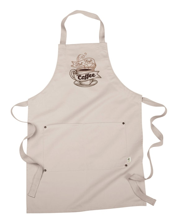 Nothing Stands Between Me and My Coffee Embroidered 8 oz Organic Cotton Barista Apron Coffee Apron Server Apron Recycled Polyester Apron