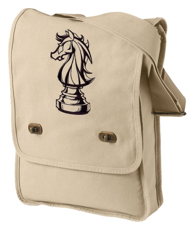 Chess Bag Knight and Day Chess Embroidered Canvas Field Bag Chess Messenger Bag