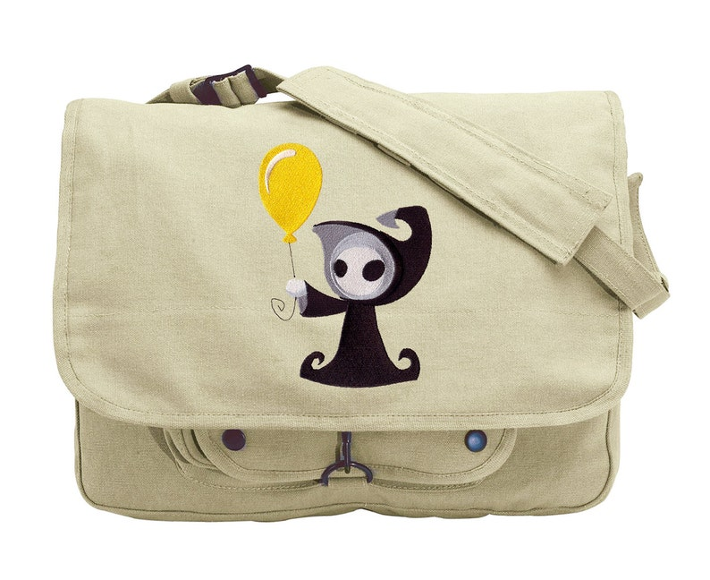 Death with Balloon Embroidered Canvas Messenger Bag