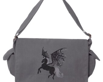 Ghost Pegasus Embroidered Canvas Cotton Messenger Bag