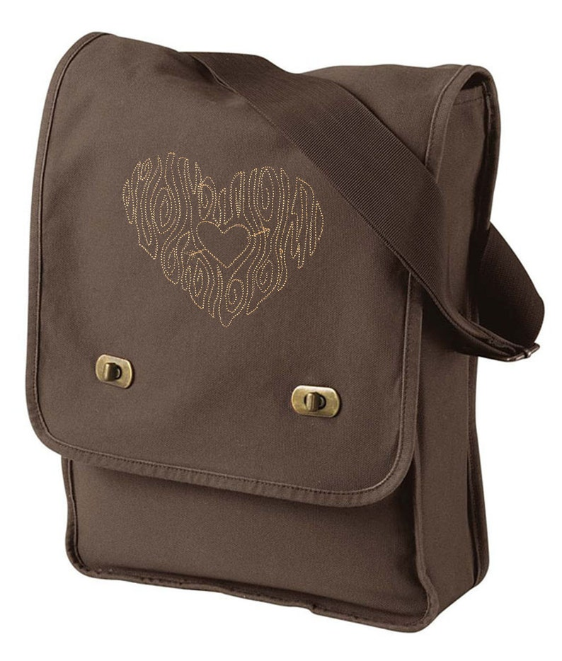 Woodgrain Heart Embroidered Canvas Field Bag