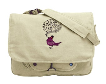Victorian Songbird Embroidered Canvas Messenger Bag