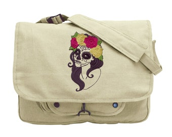 Painted Face Embroidered Canvas Messenger Bag