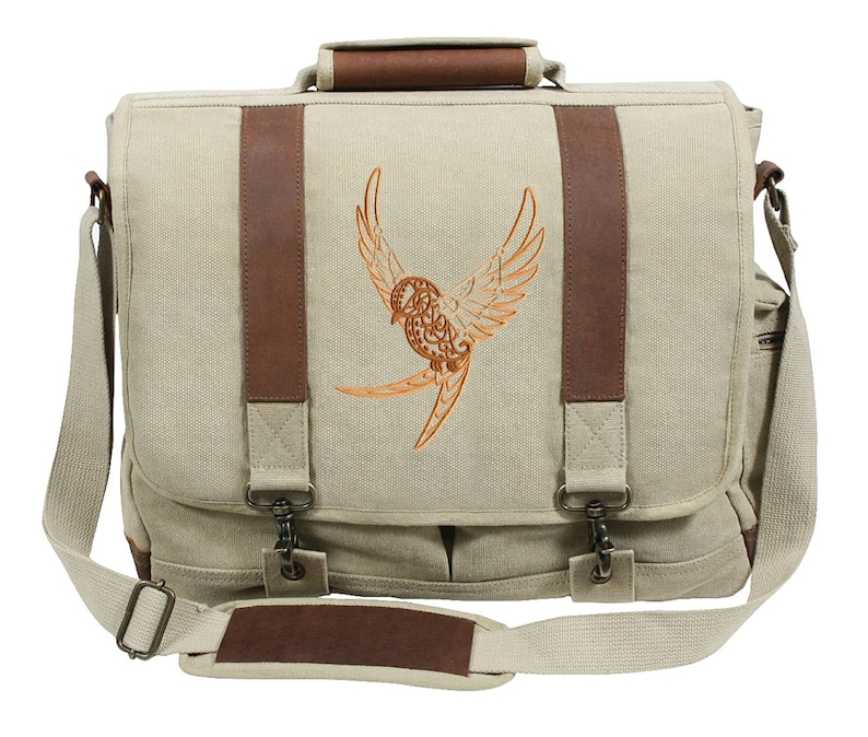 Intrepid Journey First Flight Swallow Bird Embroidered Canvas with Leather Accents Premium Laptop Bag
