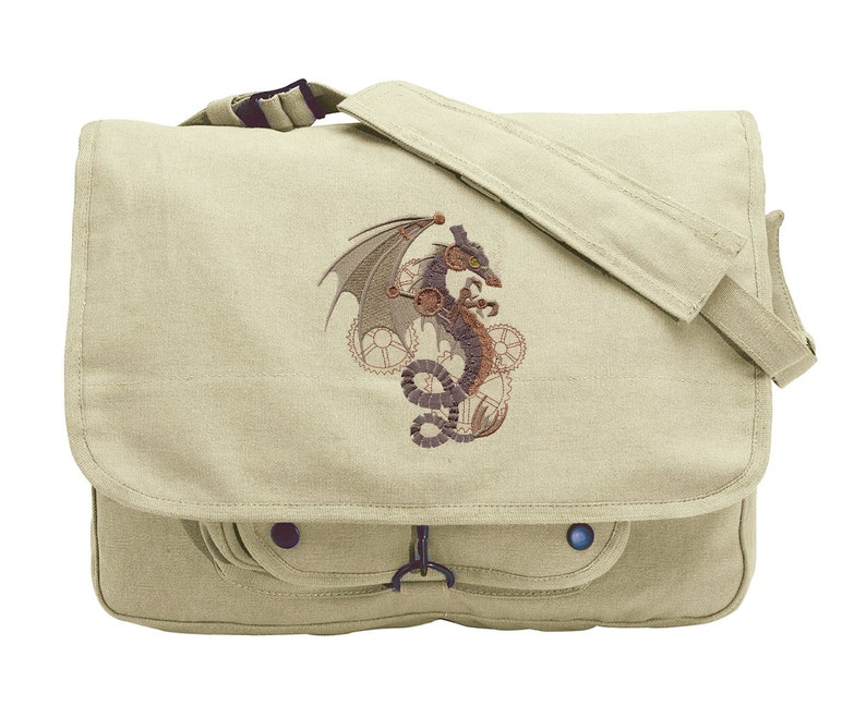 83a4bea320 Steampunk Wyvern Embroidered Canvas Messenger Bag