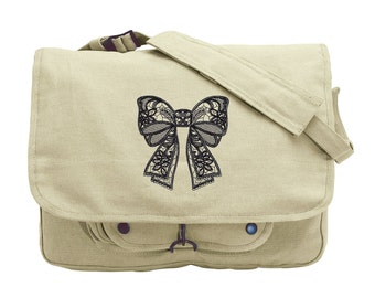 Box Messenger Bag, Girly Laptop Bag, Put a Bow on It Embroidered Canvas Messenger Bag