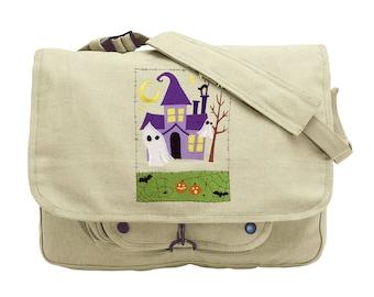 Ghostly Manor Medley Embroidered Canvas Messenger Bag