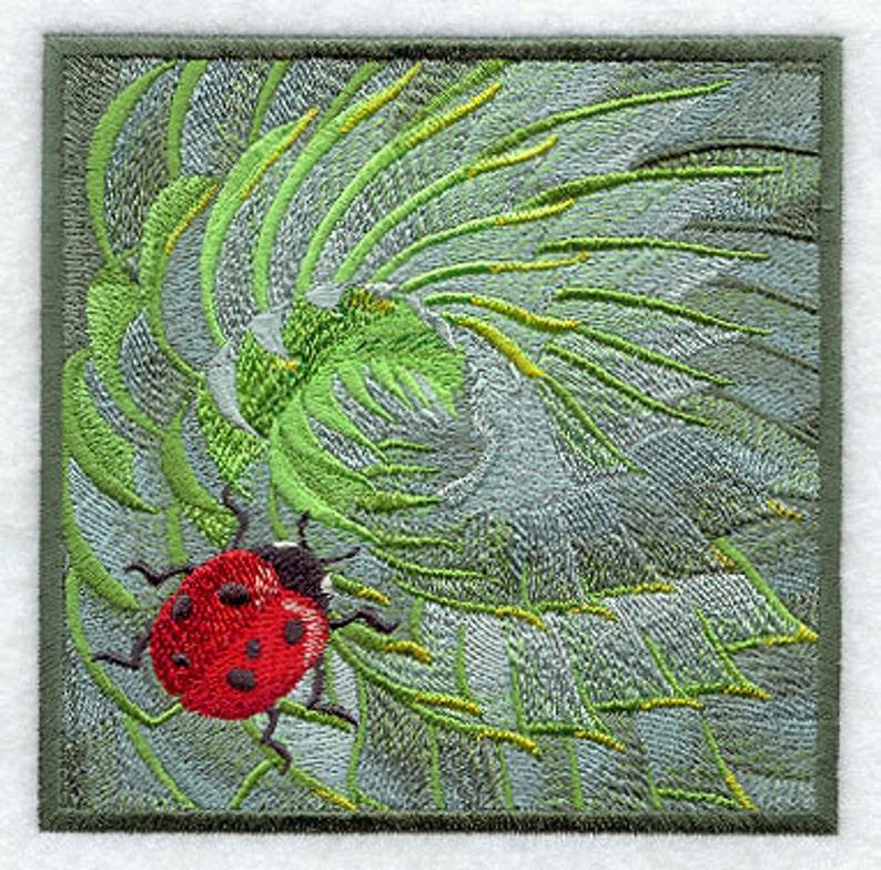 Ladybug on Succulent Embroidered Canvas Messenger Bag