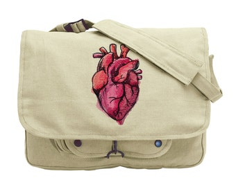 Painted Anatomical Heart Embroidered Canvas Messenger Bag