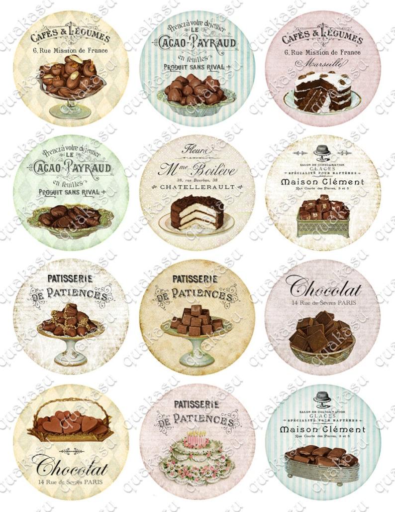 Pocket Mirrors Circle Images 2,5 inch circles Chocolate Images French Sweets Printable Circles \u2013 Magnets Digital Collage Sheet