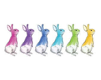 Jelly Bean Bunnies // watercolour artwork, rainbow colours, colourful print, nursery print, rabbits, bunnies, art print, nursery decor, art