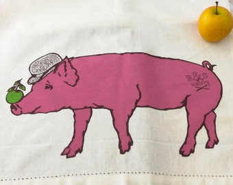 Animal Art, Funny Dish Towel, Pig Art, Tea Towel, Magritte, Home Decor, Surrealist Painting, Kitchen Gift, Pink and Green, Apple, Print