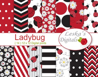 Ladybug digital papers, scrapbook paper for commercial use, red white and black patterned paper, ladybug background