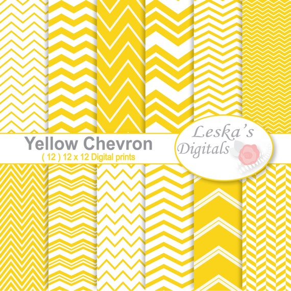 Yellow Chevron Digital Paper Pack Digital Scrapbook Paper Etsy