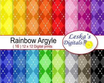 Colorful Argyle Paper, Argyle digital scrapbook paper, Argyle patterned paper, Rainbow argyle backgrounds, Colorful digital download