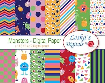 Monster digital paper, monster scrapbook papers, monster backgrounds for commercial use - Instant download