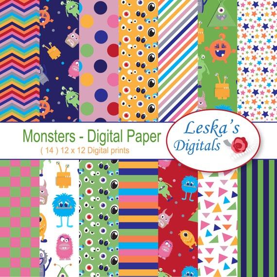 monster digital paper monster scrapbook papers monster