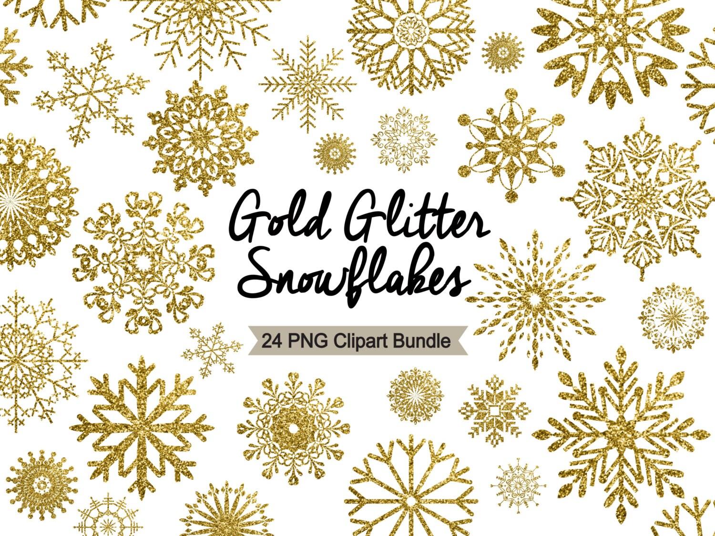 Winter Cliparts GOLD GLITZER SCHNEEFLOCKEN Gold   Etsy