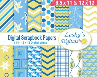 Sea digital paper: blue and yellow nautical digital paper, nautical backdrop,nautical theme,scrapbooking digital paper, instant download