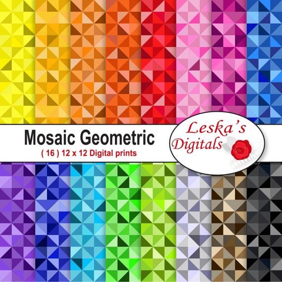 BUNTE Mosaik geometrischen Digitalpapier Mosaik Dreieck