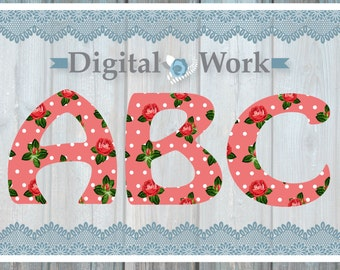 Floral shabby chic alphabet, floral font, digital alphabet, floral letters, flower font, floral clipart alphabet, flower clip art, letters