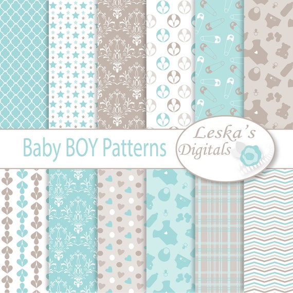 BABY BOY BACKGROUND Baby Boy Digital Paper Digital Download Etsy Impressive Boy Patterns