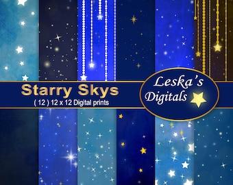 Stars Scrapbook Paper, Starry Night Digital Paper Pack, STAR PAPER BACKGROUNDS, Celestial Digital Paper, gold stars, sparkling stars