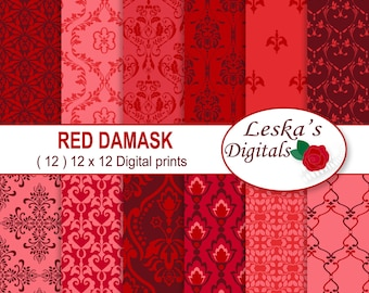 "Red Damask Digital Paper ""RED DIGITAL DAMASK"" red damask scrapbook paper - Red damask background - Red printable paper - Red patterns"