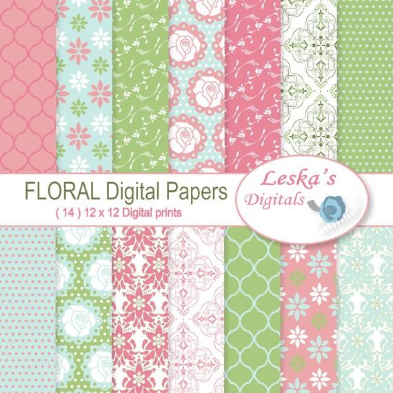Floral Digital Paper Packdigital Paper Floral Etsy