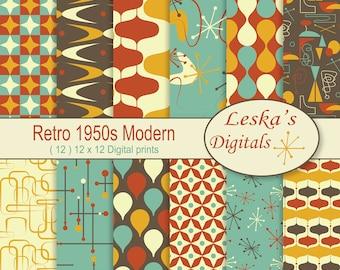 Retro Digital Paper, 1950's mid century modern, 50s Patterns, Digital Scrapbook Paper, Backgrounds, Retro Digital Downloads, commercial use