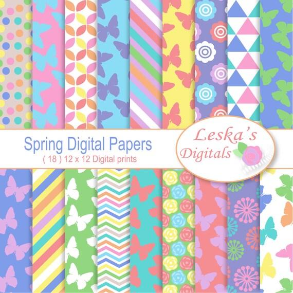Spring Scrapbook Paperflowers And Butterflies In Pastels Etsy
