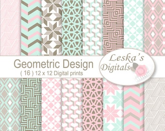 Geometric paper backgrounds, Geometric patterned paper, Geometric backgrounds, Geometric digital download for scrapbooking, Digital Paper