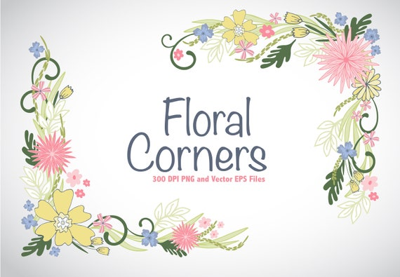 floral corners vector eps and png clipart weddings save the etsy etsy