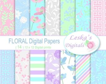 FLORAL DIGITAL BACKGROUND, Digital Paper , Floral pastel digital paper pack, Flower Digital Papers, Scrapbook paper pack of floral pastel