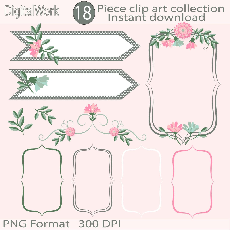 Hochzeit Blumen Clipart digitale Bilderrahmen digitale   Etsy