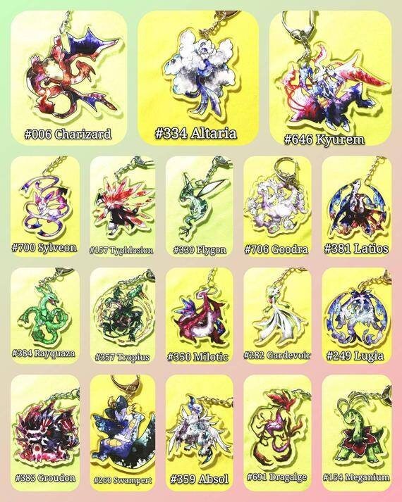 E29 Pokemon Acrylic Keychain Display Charms  Gardevoir,Lugia,Groudon,Swampert,Absol,Dragalge,Meganium