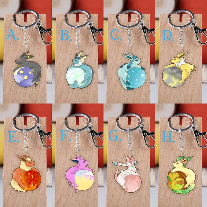 Pokemon Eeveelution Acrylic Keychain Decoration Display Charms Umbreon  Vaporeon Glaceon Jolteon Flareon Espeon Sylveon Leafeon